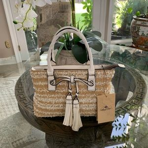 PATRICIA NASH EBBE WHITE STRAW AND LEATHER BAG!🤍